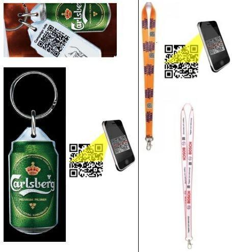 QR kóddal dekorált nyakpánt, kulcstartó